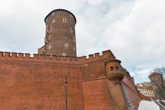 Βασιλικός πύργος Sandomierska κάστρων Wawel στην Κρακοβία, Πολωνία Στοκ Φωτογραφία