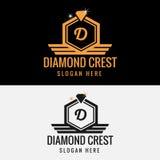 Βασιλικό πρότυπο λογότυπων CREST διαμαντιών Στοκ Φωτογραφίες