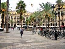 Βασιλικό τετράγωνο (Placa Reial) στη Βαρκελώνη, Ισπανία Στοκ Εικόνα