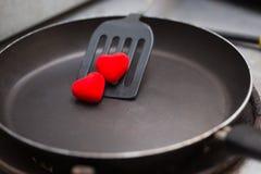 βατραχοπέδιλο που χρησιμοποιείται στο τηγάνισμα με το τηγάνι και την καρδιά Στοκ Εικόνες