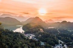 Βαυαρικά όρη κοιλάδων Alpsee, Fussen, Γερμανία Στοκ Εικόνα