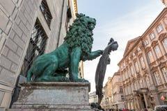 Βαυαρικό λιοντάρι στο odeonsplatz, Μόναχο, Στοκ Φωτογραφίες
