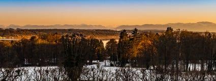 Βαυαρικό χειμερινό ηλιοβασίλεμα Στοκ Εικόνες