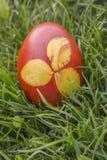 Βαφή του τυπωμένου αυγού Πάσχας Στοκ Εικόνες