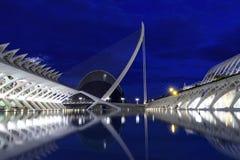 Βαλένθια, Ισπανία - φυσική άποψη της πόλης των τεχνών και των επιστημών και ωκεανογραφικός τη νύχτα στοκ φωτογραφία με δικαίωμα ελεύθερης χρήσης