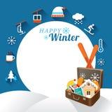 Βαλίτσα με τα χειμερινά εικονίδια, πλαίσιο διανυσματική απεικόνιση