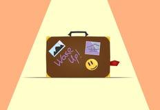 Βαλίτσα με τις αυτοκόλλητες ετικέττες Στοκ φωτογραφία με δικαίωμα ελεύθερης χρήσης