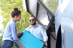 Βαλίτσα συσκευασίας για το λεωφορείο στοκ εικόνες