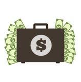 Βαλίτσα χρημάτων Βαλίτσα με την έννοια χρημάτων ελεύθερη απεικόνιση δικαιώματος