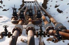 Βαλβίδες γραμμών σωλήνων πετρελαίου και φυσικού αερίου Στοκ Εικόνες