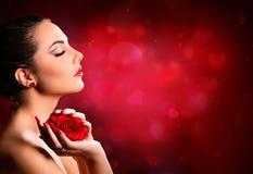 Βαλεντίνοι ημέρα Makeup - πρότυπο ομορφιάς στοκ εικόνα