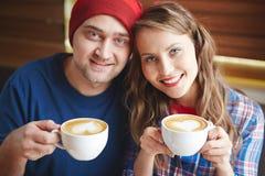 Βαλεντίνοι με τον καφέ Στοκ Εικόνες
