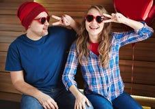 Βαλεντίνοι στα γυαλιά ηλίου Στοκ εικόνα με δικαίωμα ελεύθερης χρήσης