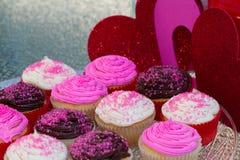 Βαλεντίνοι Cupcakes Στοκ Φωτογραφία