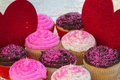 Βαλεντίνοι Cupcakes Στοκ Φωτογραφίες