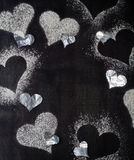 βαλεντίνος ημέρας s καρτών Χιόνι καρδιών περιγραμμάτων Στοκ εικόνες με δικαίωμα ελεύθερης χρήσης