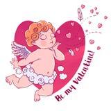 βαλεντίνος ημέρας s Cupid-αγόρι στα εσώρουχα σύννεφων και τα φυσώντας φιλιά και τις καρδιές Απεικόνιση που απομονώνεται διανυσματ ελεύθερη απεικόνιση δικαιώματος