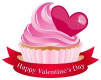 Βαλεντίνος s ημέρα Cupcake με την κορδέλλα διανυσματική απεικόνιση