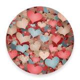 Βαλεντίνων ημέρας σχεδίων σκίτσων τα ρομαντικά αγάπης εικονίδια Doodles καρδιών αναδρομικά καθορισμένα την απομονωμένη διανυσματι Στοκ Εικόνα