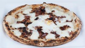 Βαλμένη φωτιά ξύλο πίτσα προγευμάτων Στοκ Εικόνα