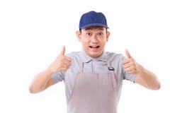 Βγααλμένος εργαζόμενος, εργοδότης με δύο αντίχειρες επάνω στη χειρονομία χεριών Στοκ Εικόνες