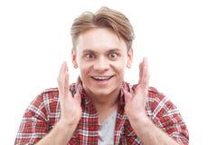 Βγααλμένος τύπος που παρουσιάζει μεγάλη έκπληξη Στοκ Φωτογραφία
