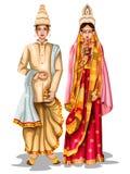 Βεγγαλικό γαμήλιο ζεύγος στο παραδοσιακό κοστούμι της δυτικής Βεγγάλης, Ινδία διανυσματική απεικόνιση
