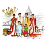 Βεγγαλική οικογένεια που παρουσιάζει πολιτισμό της δυτικής Βεγγάλης, Ινδία διανυσματική απεικόνιση