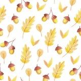 Βελανίδι και κίτρινο άνευ ραφής σχέδιο φύλλων Πτώση Vibes απεικόνιση αποθεμάτων