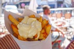 Βελγικές τηγανιτές πατάτες με τη μαγιονέζα στοκ εικόνα