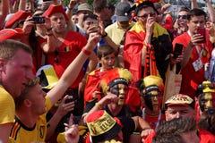 Βελγικοί οπαδοί ποδοσφαίρου που τραγουδούν στο στάδιο Αγίου Πετρούπολη κατά τη διάρκεια του Παγκόσμιου Κυπέλλου Ρωσία 2018 της FI Στοκ εικόνες με δικαίωμα ελεύθερης χρήσης