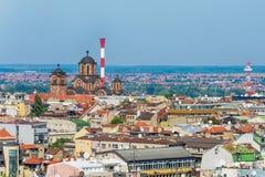 Βελιγράδι, Σερβία 11 09 2017 : Πανόραμα Βελιγραδι'ου που λαμβάνεται από το ναό Άγιος Sava Στοκ Εικόνες