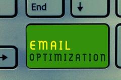 Βελτιστοποίηση ηλεκτρονικού ταχυδρομείου κειμένων γραψίματος λέξης Επιχειρησιακή έννοια για Maximize η αποτελεσματικότητα της εκσ στοκ εικόνες