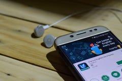 Βελτιώστε τα αγγλικά: App παιχνιδιών λέξης dev εφαρμογή στην οθόνη Smartphone Στοκ φωτογραφία με δικαίωμα ελεύθερης χρήσης