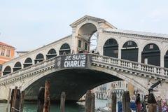 Βενετία Ιταλία - Je Suis Charlie Vigil Στοκ Εικόνα