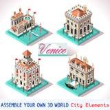 Βενετία 02 κεραμίδια Isometric Στοκ Εικόνες