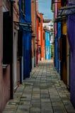 Βενετία, σπίτια Burano Στοκ Φωτογραφία