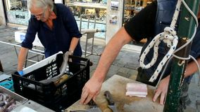 Βενετία Ψάρια και θαλασσινά πώλησης καταστημάτων οδών απόθεμα βίντεο