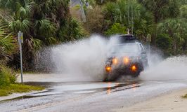 ΒΕΝΕΤΙΑ, ΛΦ - 17 Ιανουαρίου - δημοφιλή άροτρα οχημάτων τέσσερις-ρόδα-κίνησης μέσω της πλημμύρας οδών στη Φλώριδα λόγω Ελ Νίνιο στ Στοκ φωτογραφία με δικαίωμα ελεύθερης χρήσης