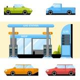 Βενζινάδικο και καθορισμένα αυτοκίνητα Διανυσματική απεικόνιση