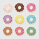 Βερνικωμένο χρωματισμένο doughnut διακοπής εγγράφου σύνολο απεικόνιση αποθεμάτων