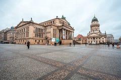 25 01 2018 Βερολίνο, Γερμανία - πανοραμική άποψη διάσημου Gendarmenm Στοκ Εικόνες