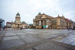 25 01 2018 Βερολίνο, Γερμανία - πανοραμική άποψη διάσημου Gendarmenm Στοκ εικόνα με δικαίωμα ελεύθερης χρήσης