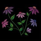 Βελονιές κεντητικής με τα λουλούδια και τα φύλλα Στοκ Εικόνα