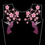 Βελονιές κεντητικής με τα λουλούδια Sakura άνοιξη, κλάδος Japane ελεύθερη απεικόνιση δικαιώματος