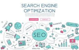Βελτιστοποίηση μηχανών αναζήτησης για το έμβλημα ιστοχώρου και την προσγειωμένος σελίδα διανυσματική απεικόνιση