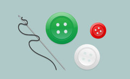 Βελόνα και νήμα και κουμπί απεικόνιση αποθεμάτων