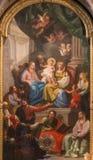 Βιέννη - κύριος βωμός της μπαρόκ εκκλησίας του ST Annes με το χρώμα και της νωπογραφίας από τη μορφή 17 του Ντάνιελ Gran σεντ Στοκ Εικόνα