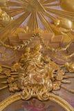 Βιέννη - πολύχρωμο μπαρόκ άγαλμα Madonna από το δευτερεύον παρεκκλησι της εκκλησίας του ST Annes. Στοκ Εικόνες