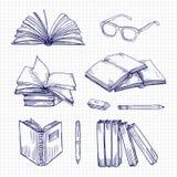 Βιβλία και χαρτικά σκίτσων Εκλεκτής ποιότητας διανυσματική συλλογή βιβλιοθηκών doodle απεικόνιση αποθεμάτων